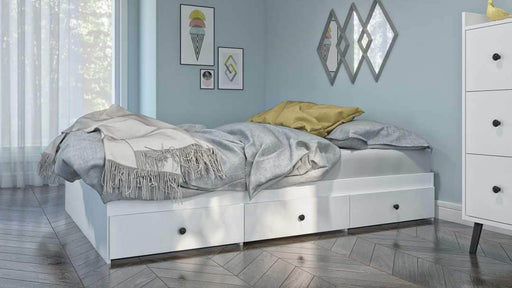 Mira Full Platform Storage Bed - White