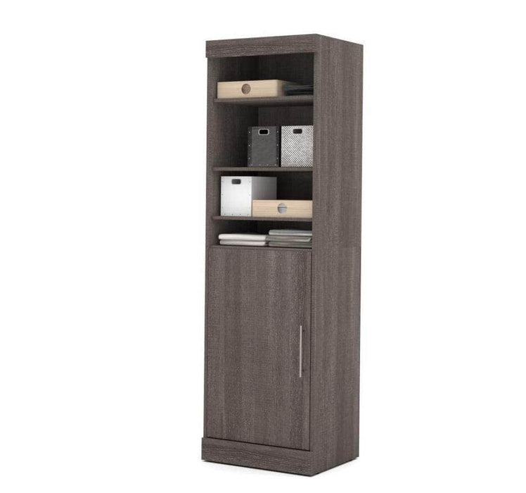 "Modubox Bookcase Bark Grey Nebula 25"" Storage Unit in Bark Grey and White"
