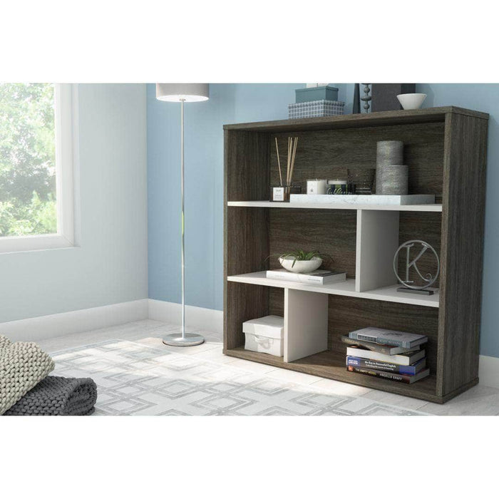 Modubox Bookcase Walnut Grey Fom Asymmetrical Shelving Unit - Available in 4 Colours