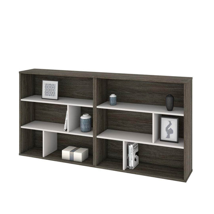 Modubox Bookcase Walnut Grey & Sandstone Fom 2-Piece Set including Two Asymmetrical Shelving Units - Available in 2 Colours
