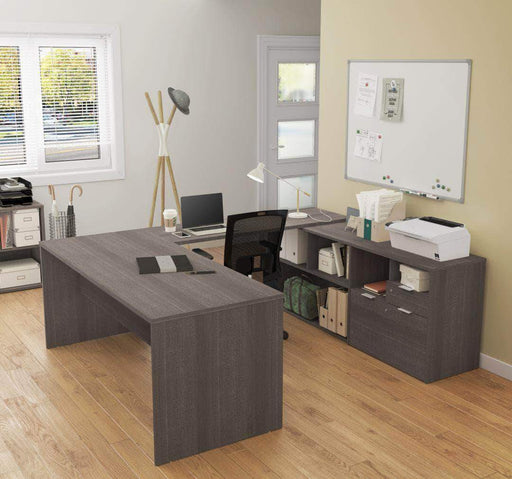 Modubox Computer Desk Bark Grey i3 Plus U or L-Shaped Desk - Available in 4 Colours