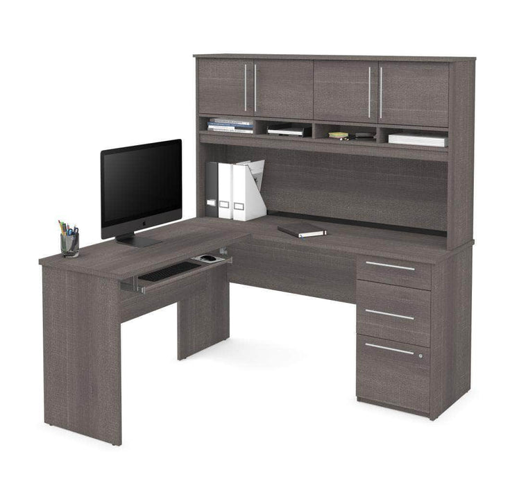 Modubox Computer Desk Bark Grey Innova L-Shaped Desk with Pedestal and Hutch