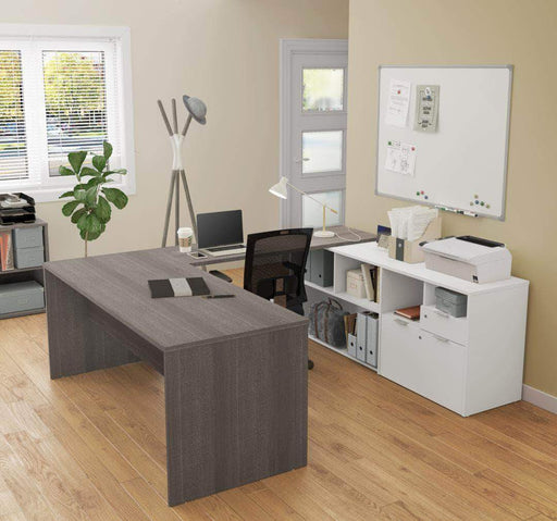 Modubox Computer Desk Bark Grey & White i3 Plus U or L-Shaped Desk - Available in 4 Colours