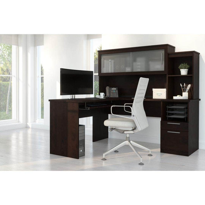Modubox Computer Desk Chocolate Dayton L-Shaped Desk with Pedestal and Hutch - Available in 2 Colors