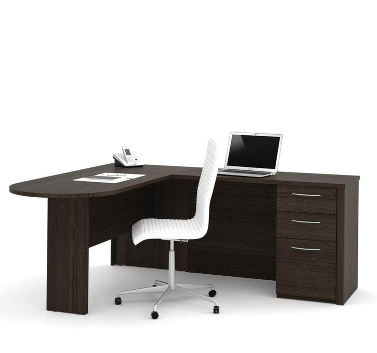 Modubox Computer Desk Dark Chocolate Embassy L-Shaped Curved Desk with Pedestal - Available in 2 Colours