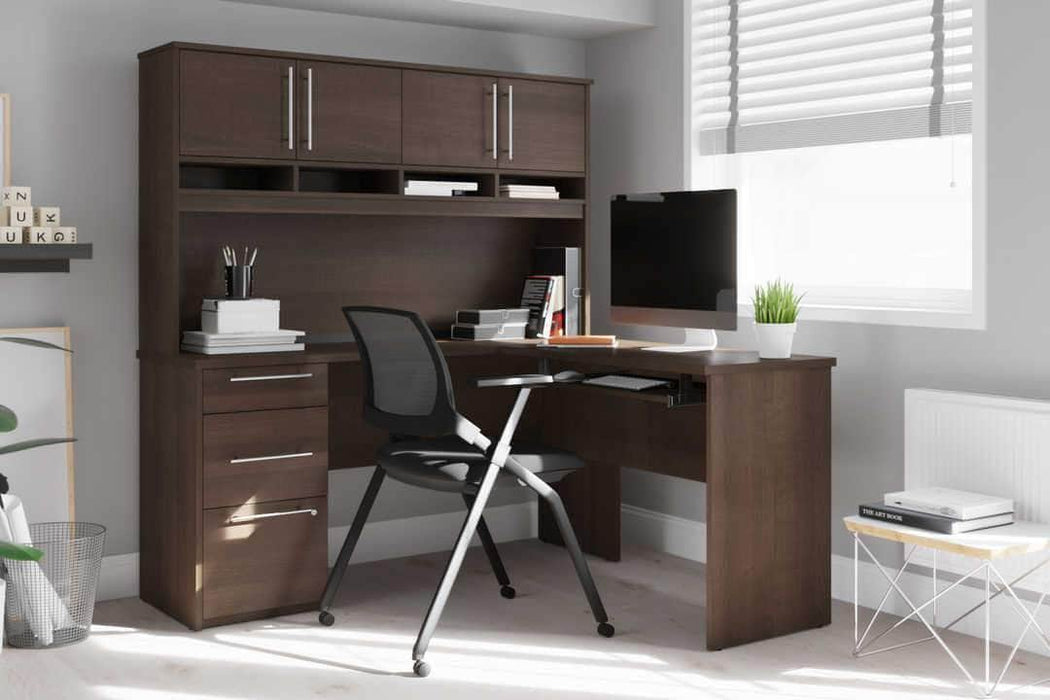 Modubox Computer Desk Innova L-Shaped Desk with Pedestal and Hutch