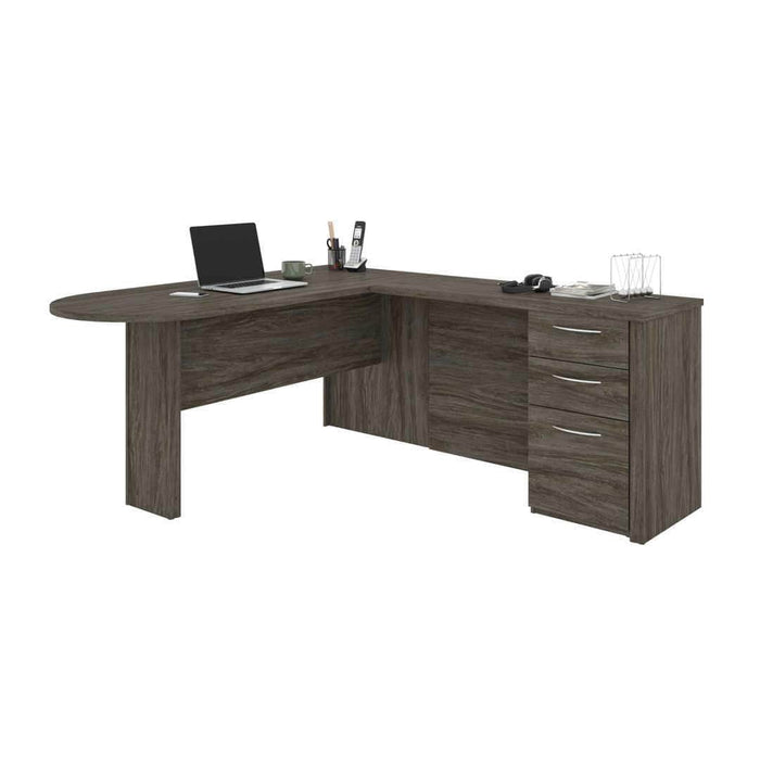 Modubox Computer Desk Walnut Grey Embassy L-Shaped Curved Desk with Pedestal - Available in 2 Colours