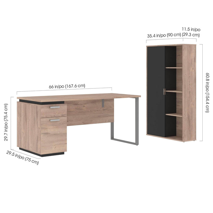 Modubox Desk Aquarius 2-Piece Set Including a Desk with Single Pedestal and a Storage Unit with 8 Cubbies - Available in 4 Colours