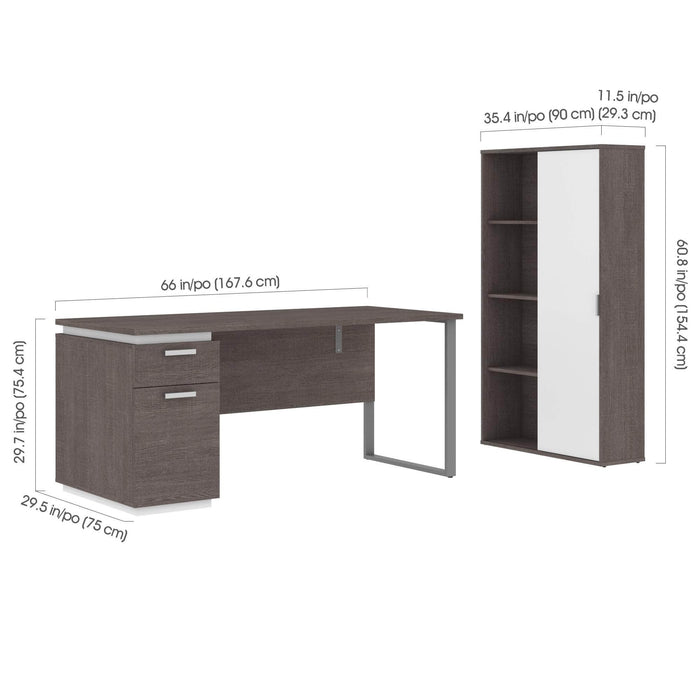 Modubox Desk Aquarius 2-Piece Set Including a Desk with Single Pedestal and a Storage Unit with 8 Cubbies - Available in 4 Colors