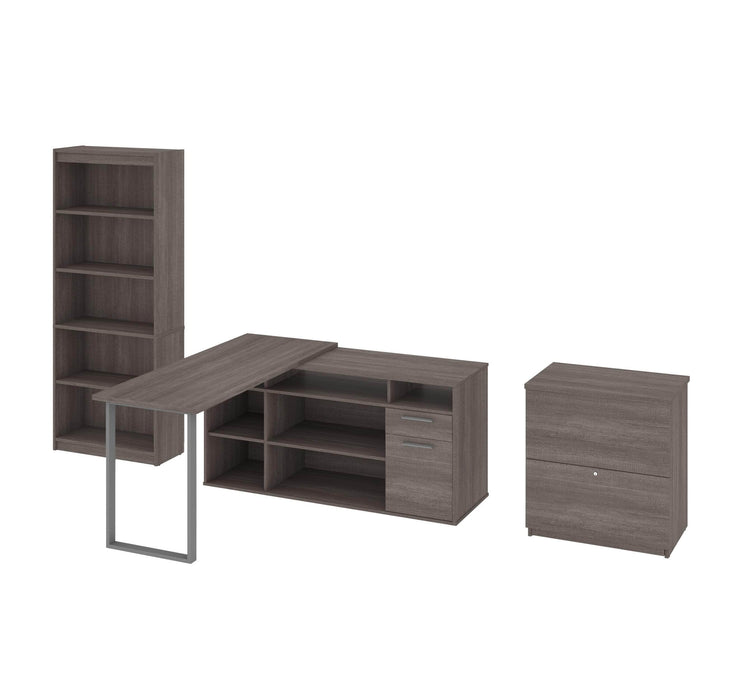 Modubox Desk Bark Grey Solay 3-Piece Set Including an L-Shaped Desk, a Lateral File Cabinet, and a Bookcase - Available in 3 Colours