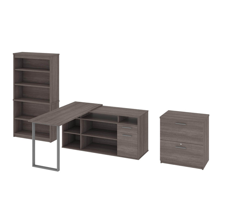 Modubox Desk Bark Grey Solay Contemporary 3-Piece Set Including an L-Shaped Desk, a Lateral File Cabinet and a Bookcase - Available in 2 Colors