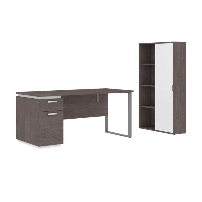 Modubox Desk Bark Grey & White Aquarius 2-Piece Set Including a Desk with Single Pedestal and a Storage Unit with 8 Cubbies - Available in 4 Colors