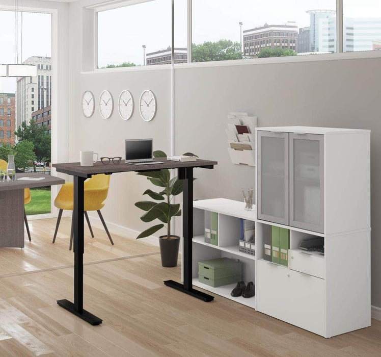 Modubox Desk Bark Grey & White i3 Plus 2-Piece Set Including a Standing Desk and Credenza with Hutch - Available in 3 Colors