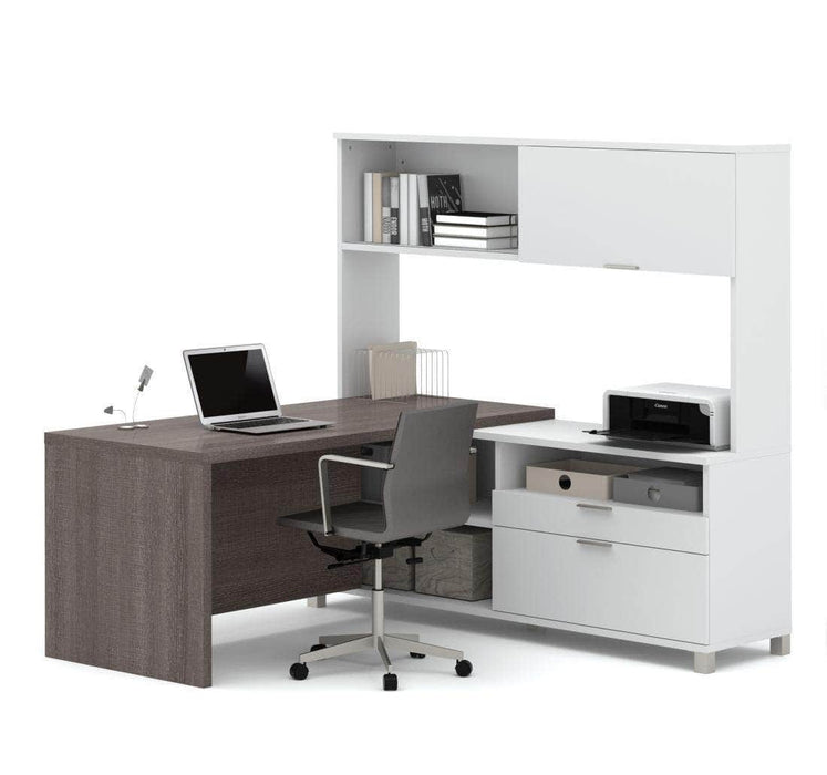 Modubox Desk Bark Grey & White Pro-Linea L-Shaped Desk with Hutch - Available in 2 Colours