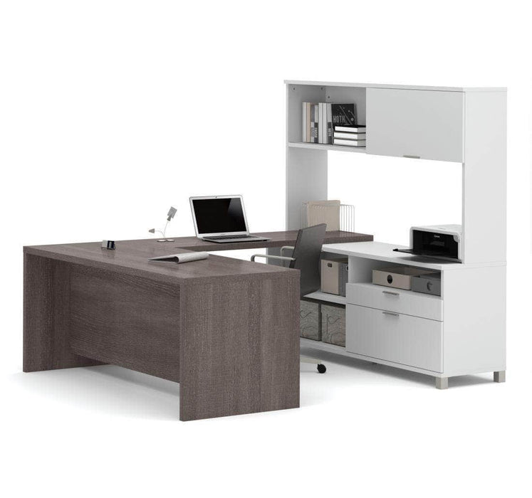 Modubox Desk Bark Grey & White Pro-Linea U-Shaped Desk with Hutch - Available in 2 Colors
