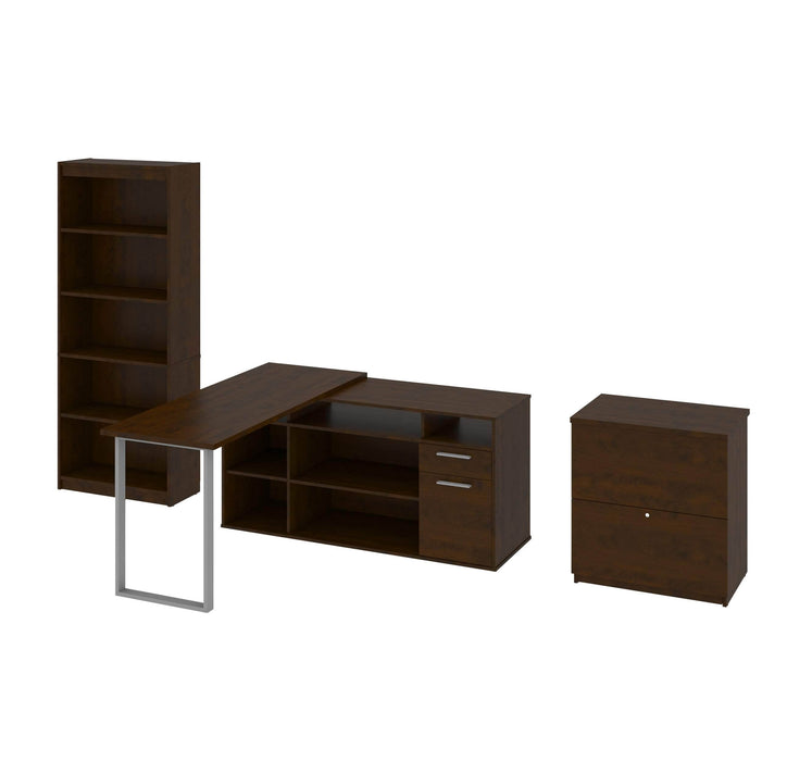 Modubox Desk Chocolate Solay 3-Piece Set Including an L-Shaped Desk, a Lateral File Cabinet, and a Bookcase - Available in 3 Colours
