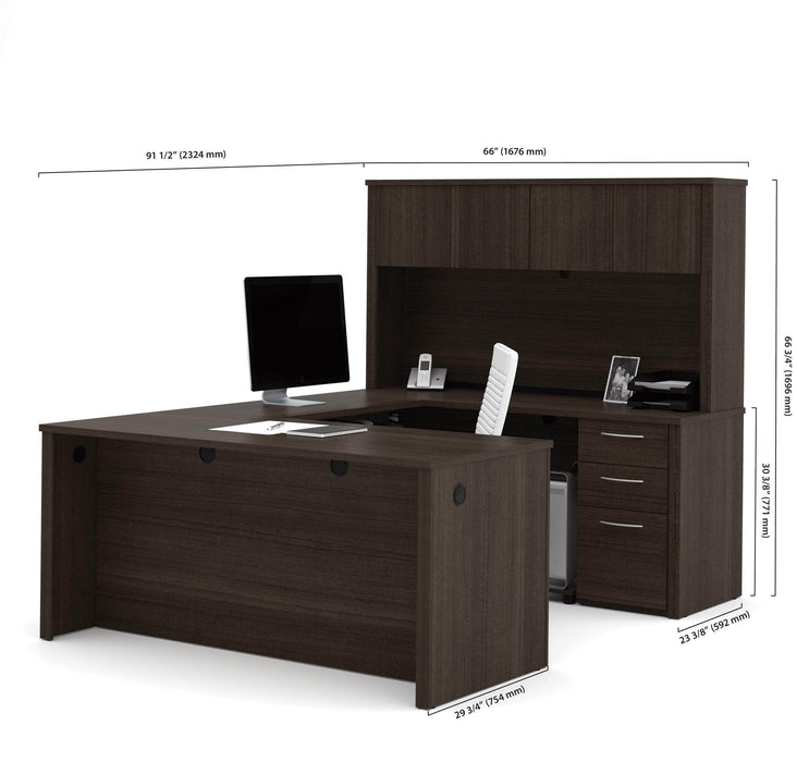 Modubox Desk Dark Chocolate Embassy U-Shaped Executive Desk with Pedestal and Hutch - Dark Chocolate