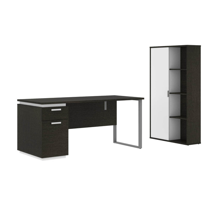 Modubox Desk Deep Grey & White Aquarius 2-Piece Set Including a Desk with Single Pedestal and a Storage Unit with 8 Cubbies - Available in 4 Colours