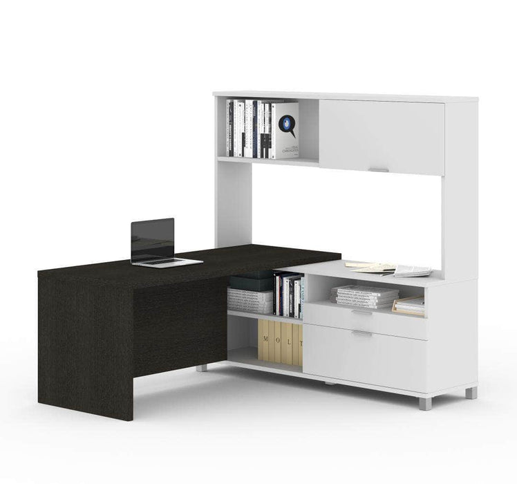 Modubox Desk Deep Grey & White Pro-Linea L-Shaped Desk with Hutch - Available in 2 Colours