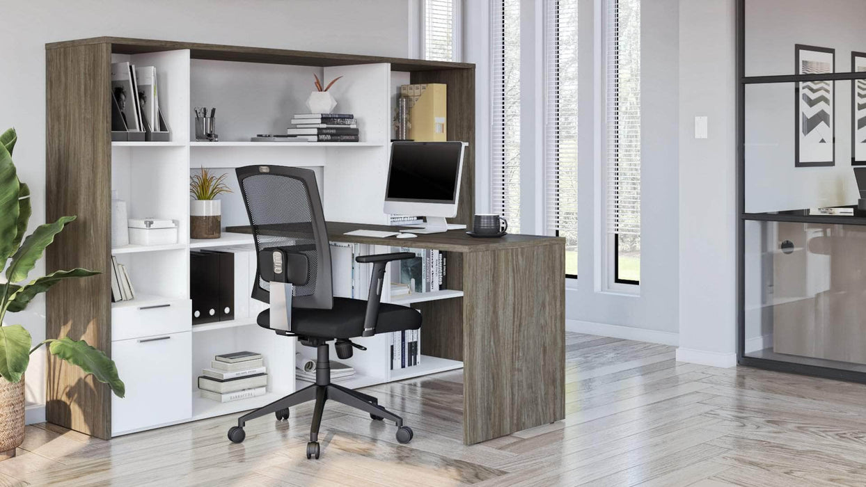 Modubox Desk Gemma 2-Piece Set Including One L-Shaped Desk with Hutch and One Bookcase - Available in 2 Colors