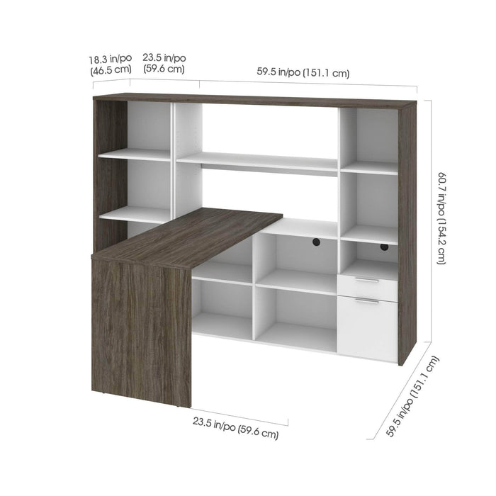 Gemma 2-Piece Set Including One L-Shaped Desk with Hutch and One Bookcase - Available in 2 Colors