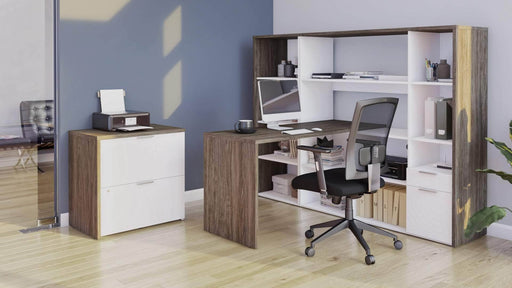Modubox Desk Gemma 3-Piece Set Including an L-Shaped Desk with a Hutch, a Bookcase, and a Lateral File Cabinet - Available in 2 Colors