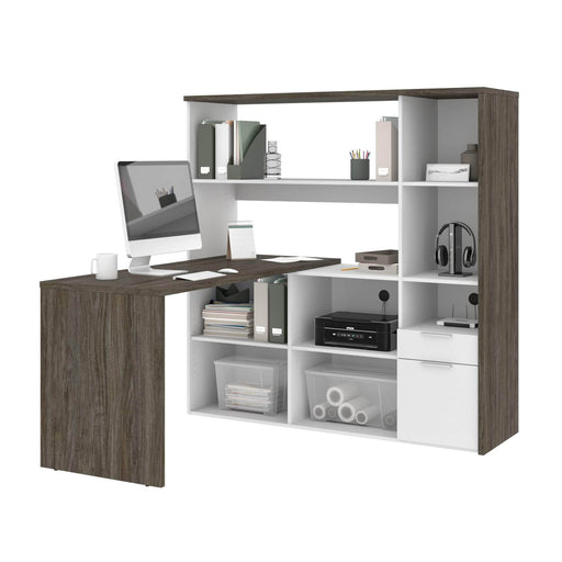 Gemma L-Shaped Desk with Credenza and Hutch - Available in 2 Colors