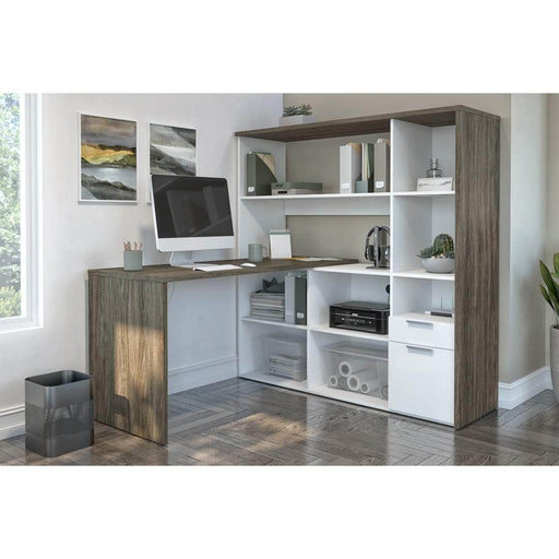 Modubox Desk Gemma L-Shaped Desk with Credenza and Hutch - Walnut Grey & White