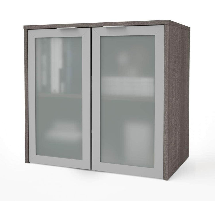 Modubox Desk Hutch i3 Plus Desk Hutch with Frosted Glass Doors - Available in 2 Colors