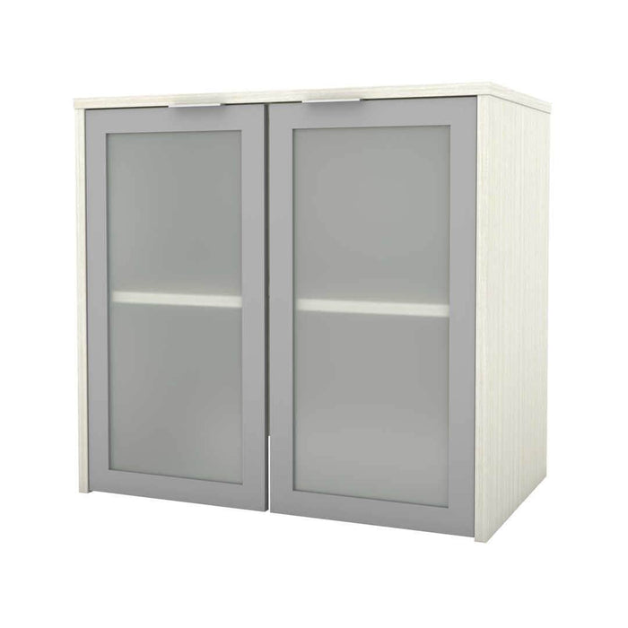 Modubox Desk Hutch White Chocolate i3 Plus Desk Hutch with Frosted Glass Doors - Available in 4 Colors