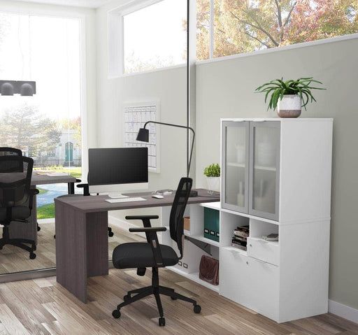 Modubox Desk i3 Plus L-shaped Desk with Frosted Glass Doors Hutch - Bark Grey