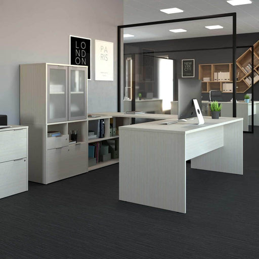 Modubox Desk i3 Plus U-shaped Desk with Frosted Glass Doors Hutch - Available in 3 Colors