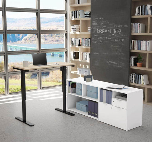 Modubox Desk Northern Maple & White i3 Plus 2-Piece Set Including a Standing Desk and Credenza - Available in 3 Colors