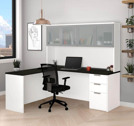 Modubox Desk Pro-Concept Plus L-Shaped Desk with Pedestal and Frosted Glass Door Hutch - Available in 2 Colors