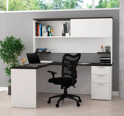 Modubox Desk Pro-Concept Plus L-Shaped Desk with Pedestal and Hutch - Available in 2 Colors