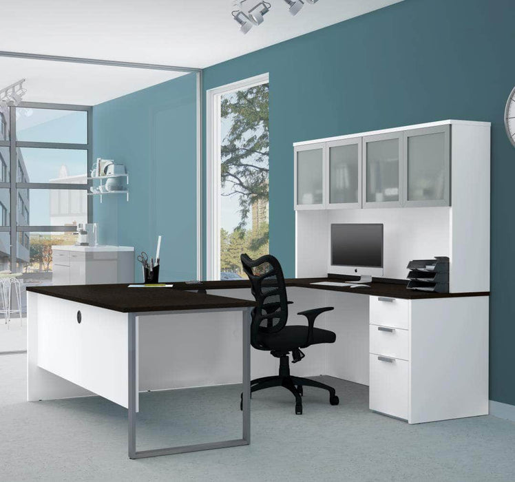 Modubox Desk Pro-Concept Plus U-Shaped Desk with Pedestal and Frosted Glass Door Hutch - Available in 2 Colors