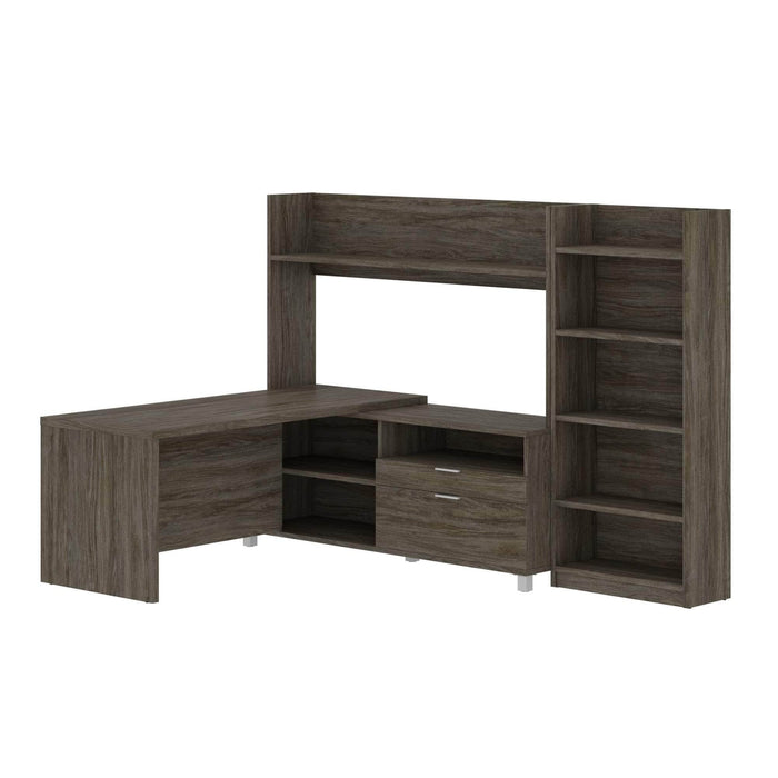 Modubox Desk Pro-Linea 2-Piece Set Including an L-Shaped Desk with Hutch and a Bookcase - Available in 2 Colours