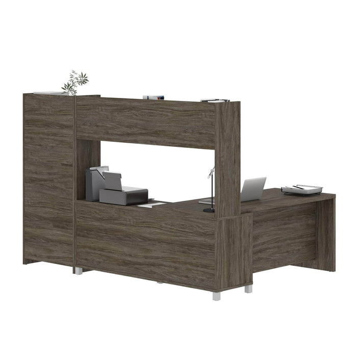 Modubox Desk Pro-Linea 2-Piece Set Including an L-Shaped Desk with Hutch and a Bookcase - Available in 2 Colors