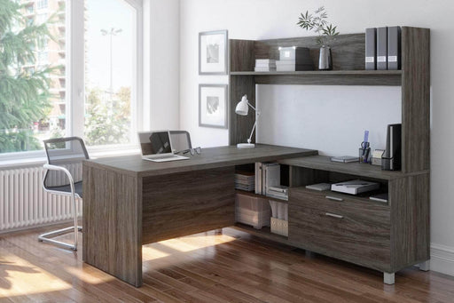 Modubox Desk Pro-Linea L-Shaped Desk with Hutch - Available in 2 Colors
