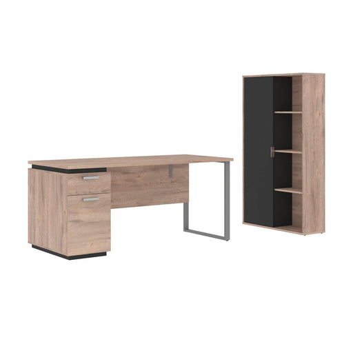 Modubox Desk Rustic Brown & Graphite Aquarius 2-Piece Set Including a Desk with Single Pedestal and a Storage Unit with 8 Cubbies - Available in 4 Colors