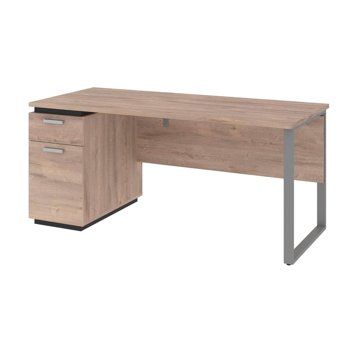 Modubox Desk Aquarius Desk with Single Pedestal - Rustic Brown & Graphite