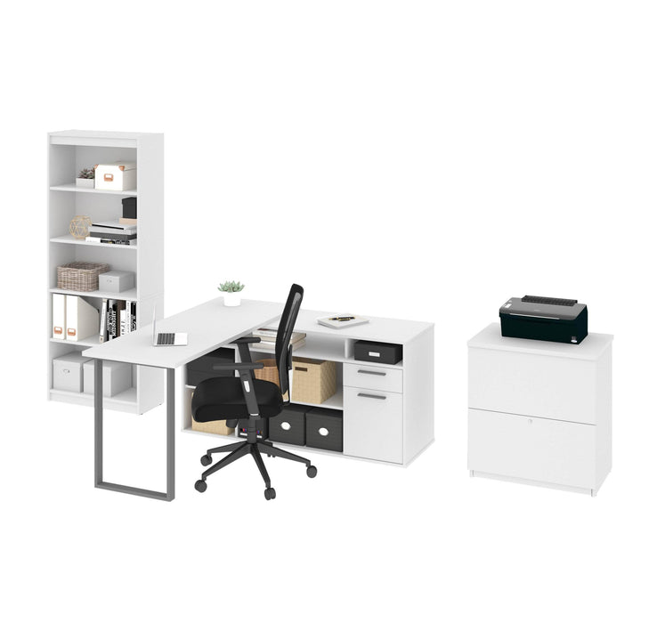 Modubox Desk Solay 3-Piece Set Including an L-Shaped Desk, a Lateral File Cabinet, and a Bookcase - Available in 3 Colours