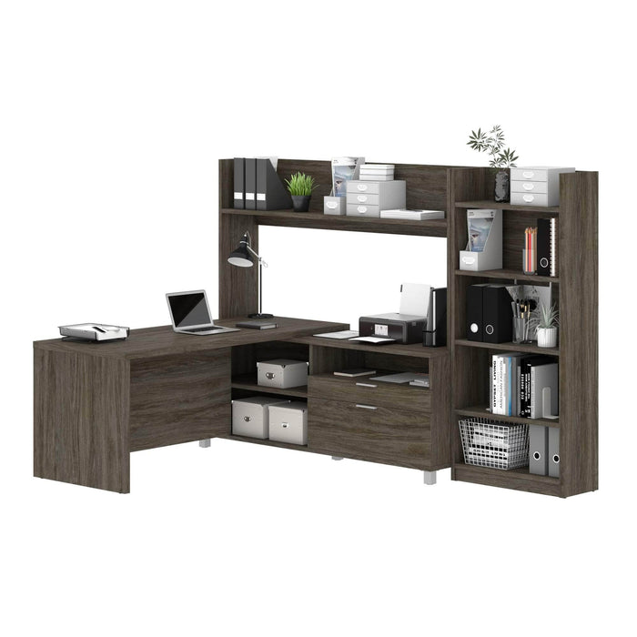 Modubox Desk Walnut Grey Pro-Linea 2-Piece Set Including an L-Shaped Desk with Hutch and a Bookcase - Available in 2 Colors