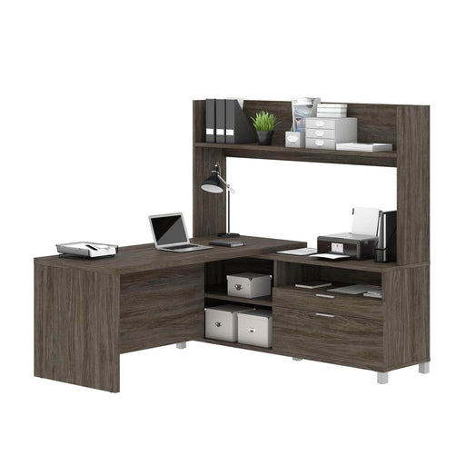 Modubox Desk Walnut Grey Pro-Linea L-Shaped Desk with Hutch - Available in 2 Colors