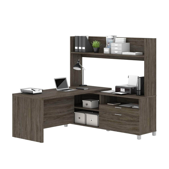 Modubox Desk Walnut Grey Pro-Linea L-Shaped Desk with Hutch - Available in 2 Colours