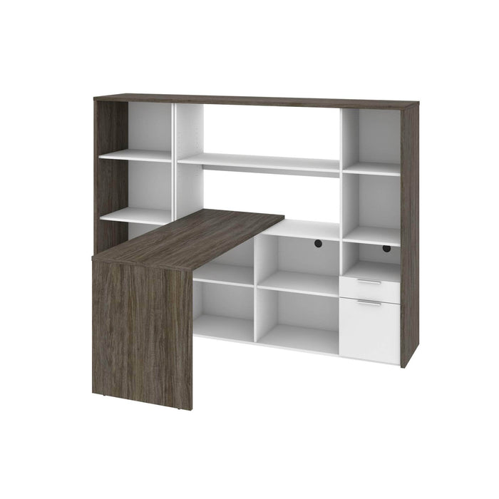 Modubox Desk Gemma 2-Piece Set Including One L-Shaped Desk with Hutch and One Bookcase - Walnut Grey & White