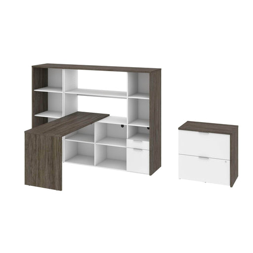 Modubox Desk Gemma 3-Piece Set Including an L-Shaped Desk with a Hutch, a Bookcase, and a Lateral File Cabinet - Walnut Grey & White