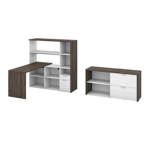 Modubox Desk Gemma 3-Piece Set Including One L-Shaped Desk with Hutch, One Storage Unit, and One Lateral File Cabinet - Walnut Grey & White