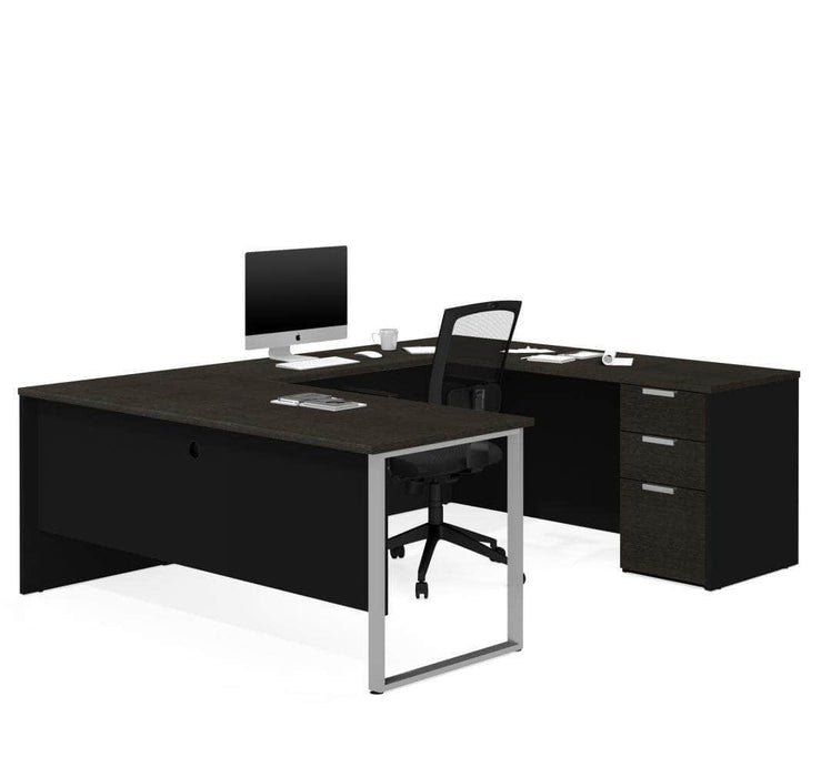 Modubox Desk White & Deep Grey Pro-Concept Plus U-Shaped Desk with Pedestal - Available in 2 Colors