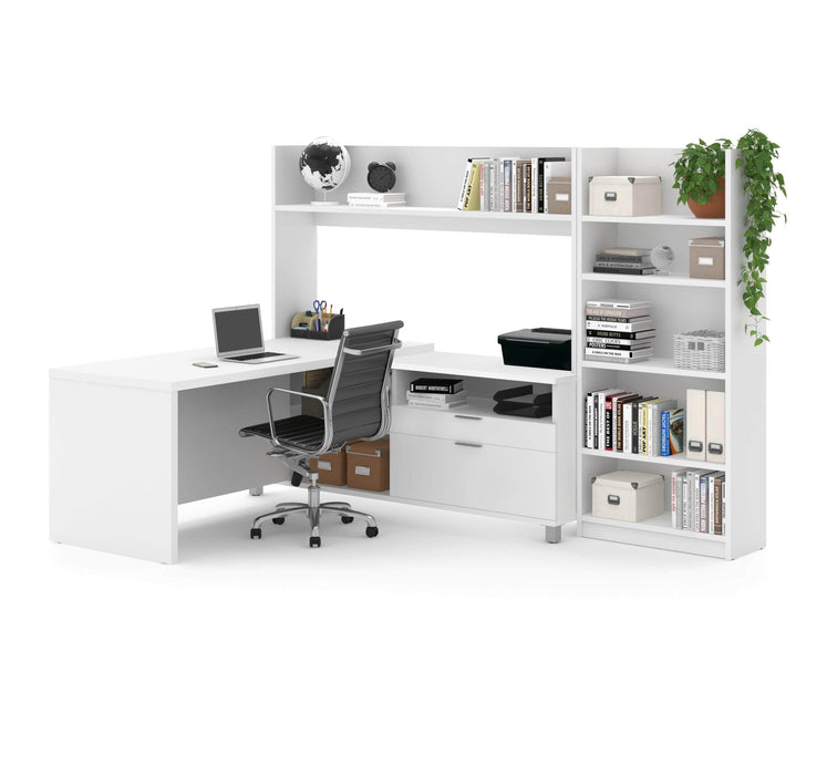 Modubox Desk White Pro-Linea 2-Piece Set Including an L-Shaped Desk with Hutch and a Bookcase - Available in 2 Colors